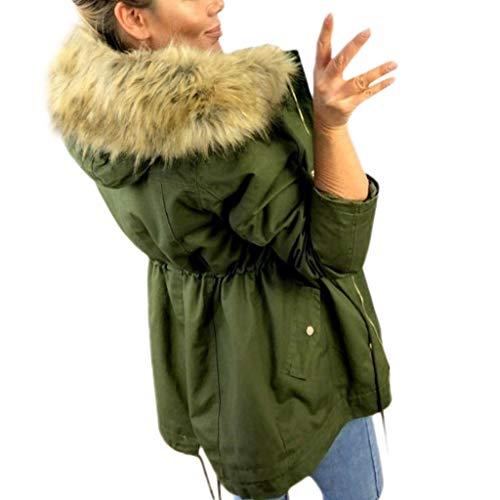 ZEELIY Warme Damen Winter Jacke Teddyfell Winterjacke Parka Mantel mit Kapuze Warm Pulloverjacke