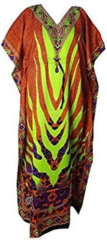 HarLen Women Caftan Kimono Style Summer Dress Night Dress Cover Ups Maxi (Free Size) (Multicolor_4)