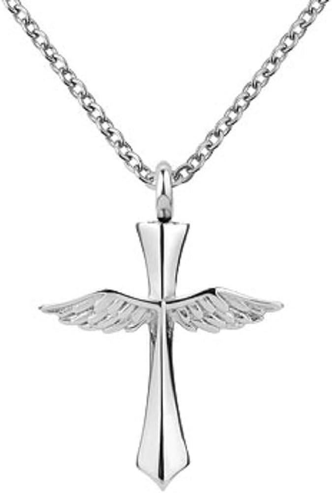 Jesse Ortega Cross Cremation Jewelry Urn Necklace of Ashes Keepsake Memorial Pendant Necklace