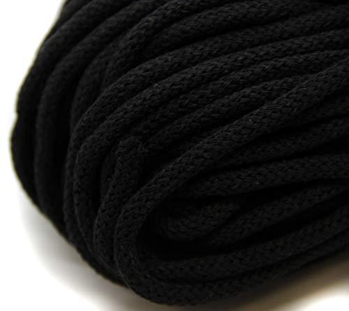 NTS Nähtechnik 50m Baumwollkordel mit Kern 6mm breit (schwarz)