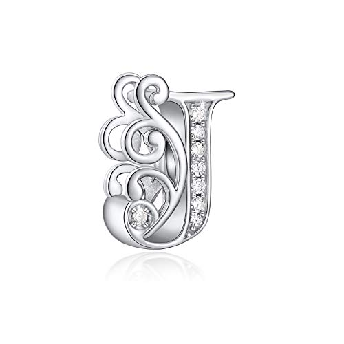 FOREVER QUEEN 925 Sterling Silver Letter Charms for Pandora Bracelets Alphabet Initial Beads Jewelry Gift for Women (J)