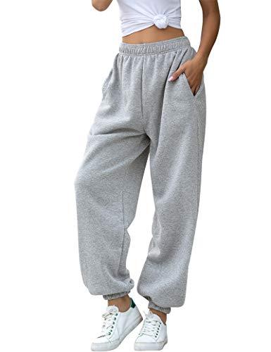 HeSaYep Women's High Waisted Sweatpants Workout Active Joggers Pants Baggy Lounge Bottoms,Grey M