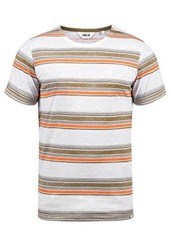 !Solid Sid Herren T-Shirt Kurzarm Shirt Streifenshirt Mit Streifen Und Rundhalsausschnitt 100% Baumwolle, Größe:L, Farbe:Ermine (5944)