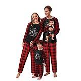 riou Pijamas Dos Piezas Familiares de Navidad El nuevo Set Ropa de Dormir Manga Larga con Estampado Pijamas Navidenos Pareja