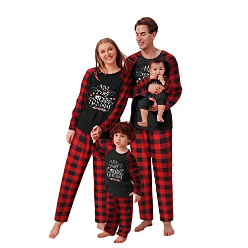 Alueeu Pijamas de Navidad Familia Conjunto Pantalon y Top con Estampado Camisón Casual Homewear Otoño Invierno Mujere Hombre Niños Pijama de Año Nnuevo