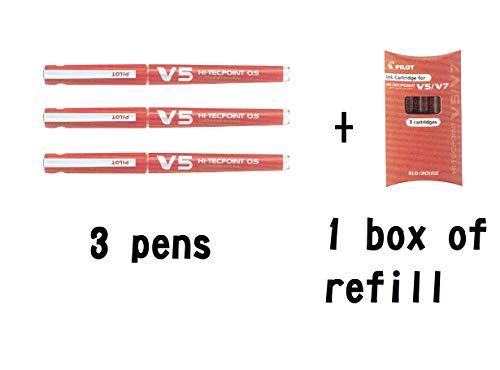 Pilot V5 Hi-tecpoint 0.5 - Bolígrafo de tinta líquida recargable (3 unidades), color rojo
