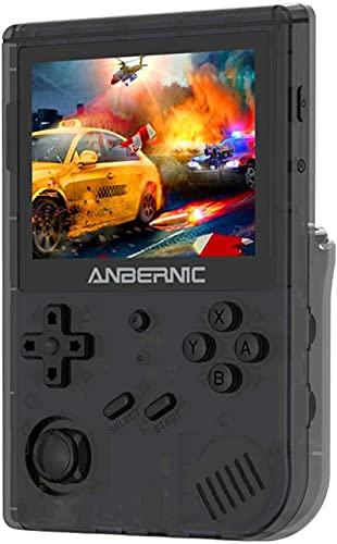 Anbernic RG351V Handheld Spielkonsole, WIFI Retro Spielekonsole mit 64G TF Card 2500 Spiele, Open Source Linux-System Portable Spielkonsole Kompatibel mit PSP/PS1/NDS,Retro Konsole 3.5'IPS(Schwarz)