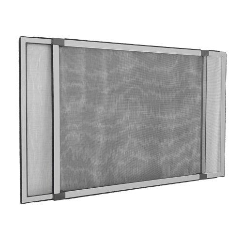 jarolift Insektenschutzrahmen Schiebfix Fliegengitter ohne Bohren für Fenster Türen mit Rollladen, Alurahmen, 75 x 50 cm (ausziehbar bis 142 cm), Silber