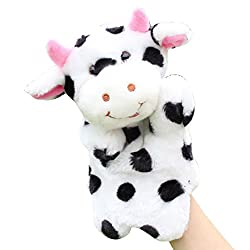 Happy Cherry Plush Hand Puppet Black and White Dairy Cow