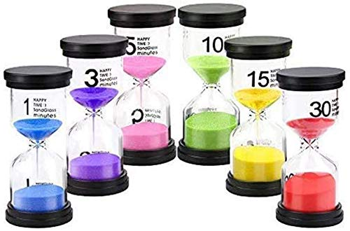 Sand Timer,6 Pieces Hourglass Sandglass Timer 1min / 3mins / 5mins / 10mins...