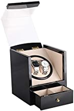 Automatic Watch Winder Box,Wooden with Motor Display Case Box Organizer Black Fit AC Or DC Powered for 2 Wrist Watches