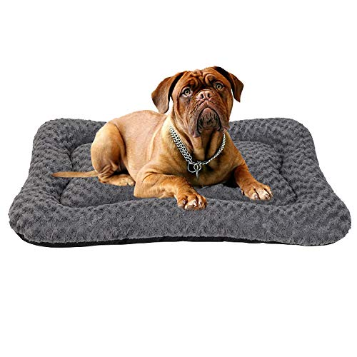 Coohom Deluxe Plush Calming Dog Bed Pet Cushion Crate Mat,Machine Wash Pet Bed for Medium Large Dogs (Medium, Grey) Beds