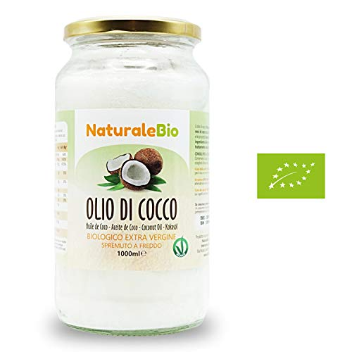 Olio di Cocco Biologico Extra Vergine 1000 ml | Crudo e Spremuto a Freddo | Organico e Puro al 100% | Ideale per Capelli, per il Corpo e ad Uso Alimentare | Olio di Cocco Bio Nativo e non Raffinato 1L | NATURALEBIO®