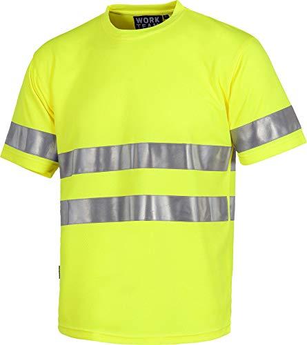 Work Team Camiseta Cuello Caja, Manga Corta, Cintas Reflectantes, Alta Visibilidad EN ISO 471:2013 Unisex Amarillo A.V. XL