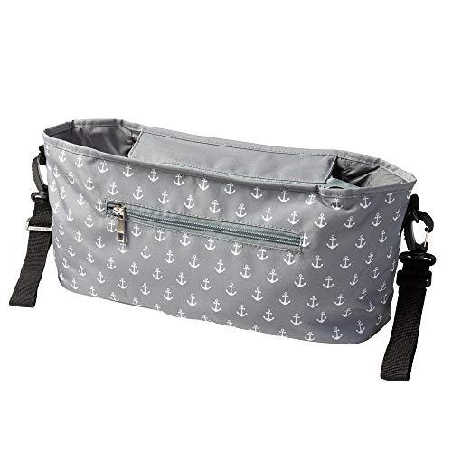 Kinderwagen Buggy Organizer mit Ankerprint grau (Farbe & Motiv wählbar) I praktische Kinderwagentasche zum Anhängen