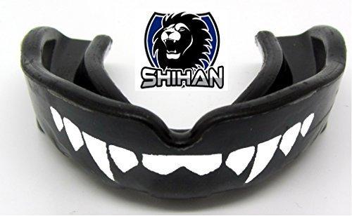 Mouthguards Gum Shield BLACK Sensei J Signature Gum Shield 'FANGS-TEETH - (Black) Senior , MMA, Rugby, Ufc Wrestling Mouth Guard