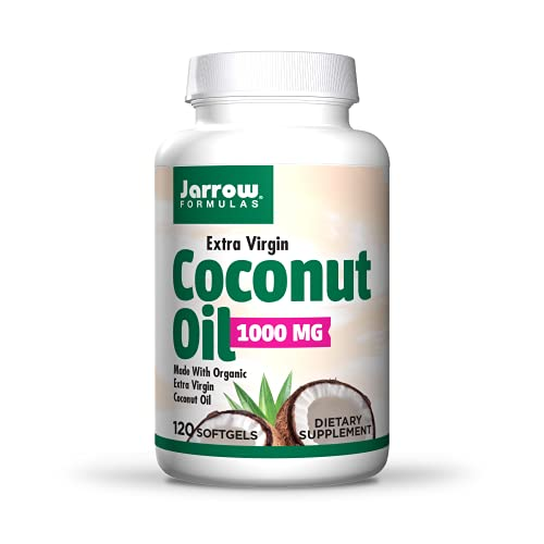 Jarrow Formulas Certified Extra Virgin Organic Coconut Oil Made With 100% Cold-Pressed & Solvent Free, 120 Count