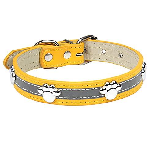 Collar de Cuero para Perros Remaches de PU Ajustables Pequeño Mediano Cachorro Perros Gato Correa Collar Remaches con Tachuelas Collar para Mascotas Accesorios, Dorado, M