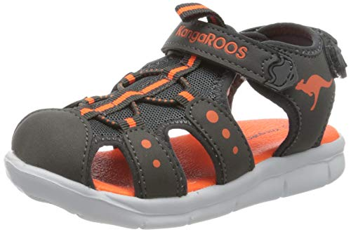 KangaROOS Unisex Baby K-mini Sandalen, Grau (Steel Grey/Neon Orange 2125), 22 EU