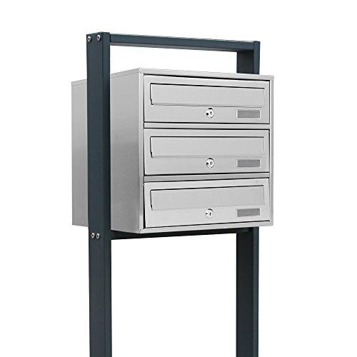 BITUXX® Design Edelstahl Stand-Briefkastenanlage Postkasten Letterbox Mailbox mit 3 Fächer und Dunkelgrauen Standrohren