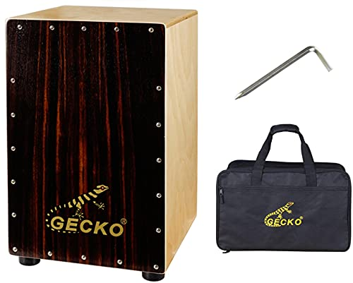 Cajon Box Drum-Wooden Percussion Box musical instrument bass drum box acoustic box drum beat box with Internal Adjustable Guitar Strings cajon drum set package (P-CL10EN)