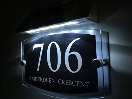 Personalised! Modern Solar Light House Signs Plaques Door Numbers 1-9999 Street Name LED