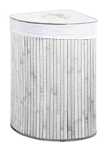 VERDELOOK Cesto porta biancheria ad angolo bianco con coperchio e maniglie foderato, 35x35x60 cm