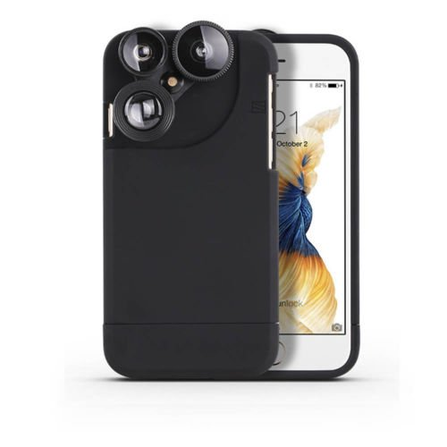 SSSabsir 4in1 Camera Lens Kit Fisheye+Macro+Wide Angle+Zoom Phone Case For iPhone 6 6s Plus 7 7 Plus Black iphone 7 plus