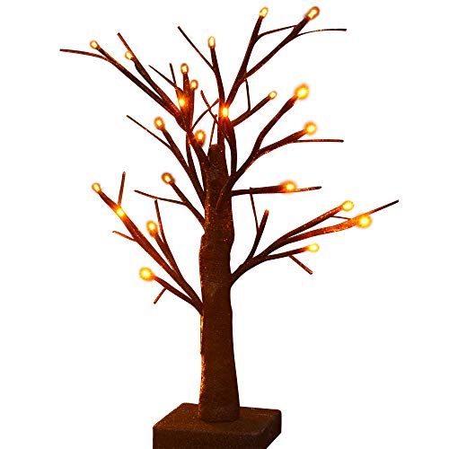 Twinkle Star 24 LED Lighted Halloween Tree, Battery Operated Birch Tree with 24 DIY Pumpkins , Indoor Home Table Desktop Best Halloween Decorations Gift Package