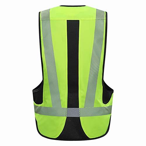 Chaleco Airbag Profesional para Motocicleta, Chaleco Airbag con Tira Reflectante para Motocross, Chaqueta Airbag Moto,Protege Espalda,Cintura,Caderas,Vértebras Cola,Verde