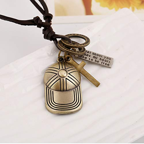 FJKWLC Car Rear View Mirror Pendant Fashion Rock Character Hat Vintage Imitation Leather Necklace Pendant