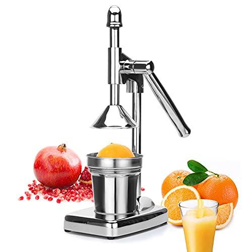 YXMxxm Citrus Juicer Hand Press Manual Fruit Juicer, Stainless Steel Commercial Grade Lemon Squeezer for Lemon Lime Orange Pomegranate, Silver
