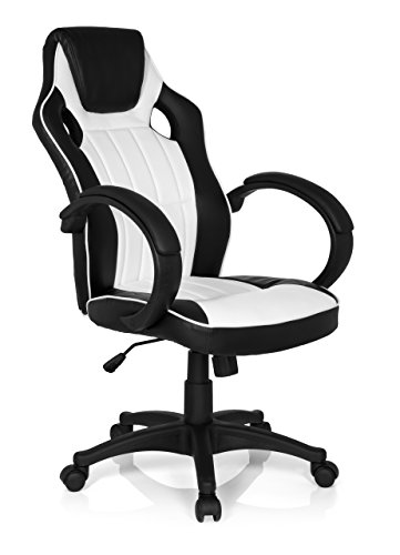 mybuero Gaming silla silla de oficina Gaming Zona Pro 100, negro/blanco, 125 x 59 x 49 cm