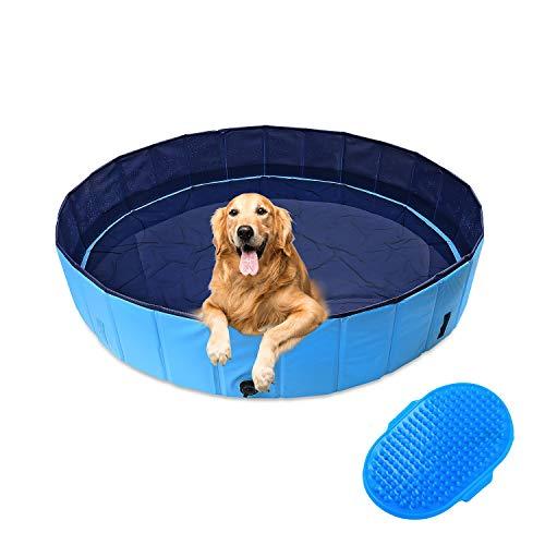 Dog Pool Ø160cm Piscina per Cani, Cani Animali Portatile Pieghevole 160x30cm Blu Rigida, Piscinetta Bambini in PVC, Mini Vasca Esterno Grandi