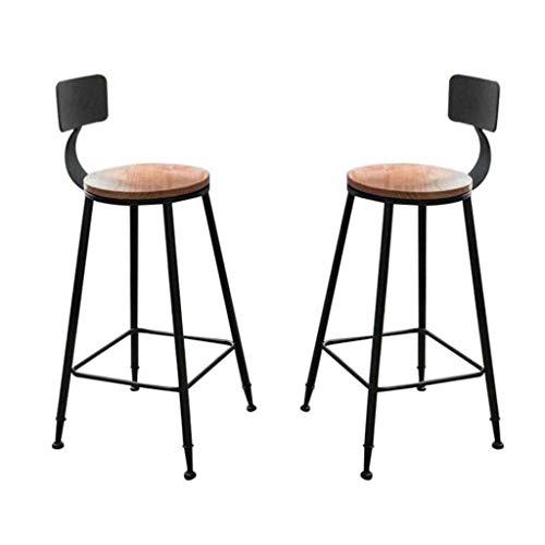 Zfggd Banqueta de Bar, Juego de 2 taburetes de Alta desayunos Comedor Comodidad de los Asientos de sillas de preparación en la Cocina de Altura Pub Cafetería, con reposapiés, Piernas de Acero Cromado
