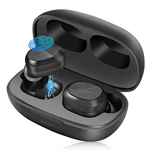 Kopfhörer Kabellos Bluetooth 5.1, Wireless Ohrhörer in Ear Sport mit Deep Bass, One Step Pairing, Mini Tragbare Ladetasche, IPX7 Wasserdicht Ohrhörer Touch Control für iOS & Android