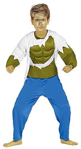 shoperama Kinder-Kostüm Hulk mit Muskeln grün Jungen Superheld Muskelkostüm Karneval Superhero Muskelprotz, Größe:134 - 7 bis 9 Jahre