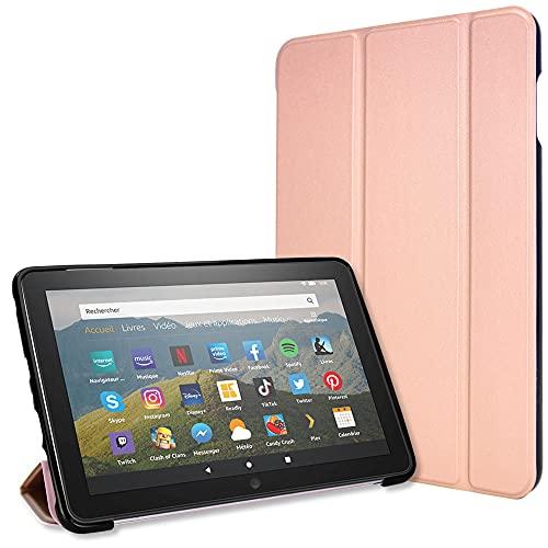 TECHGEAR Kluger Hülle für neu Amazon Fire HD 8 / HD8 Plus (2020/10. Generation) Slim Smart Hülle Dreifach Gefaltete Standabdeckung mit Eckenschutz [Auto Schlaf/Wach] - Rosé Gold