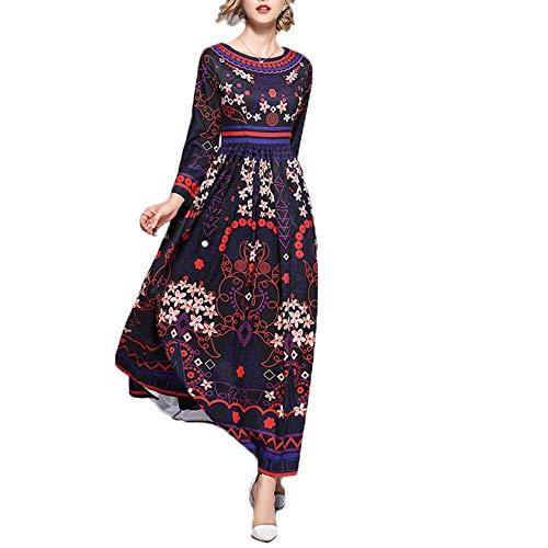 Rocke Fashian Lady Langärmliges, bedrucktes, großes Swing-Kleid im Ethno-Stil (Color : Purple, Size : L)