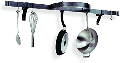 product image for Enclume Premier Shelf with Half Circle Wall Pot Rack, Hammered Steel