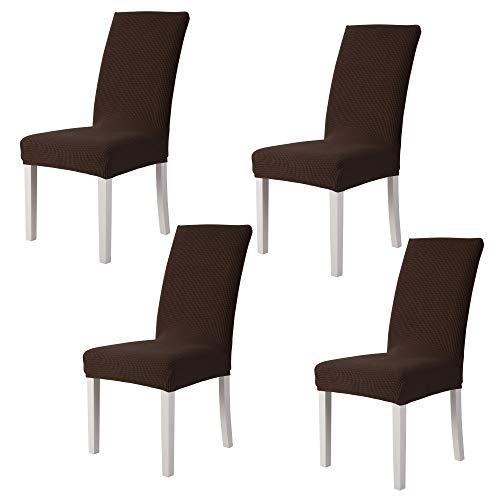 sancua Stretch Jacquard Dining Chair Cover - 4 Piece - Removable Washable Chair Protector for Dining Room, Hotel, Ceremony, Banquet, Wedding and Party, Chocolate