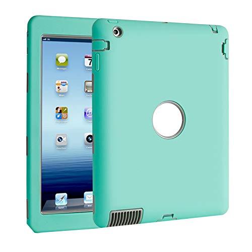 TKOOFN PC + Silicona Híbrido Funda Carcasa Cubierta Caso diseñdo para iPad 2/3/4 + Forro de Limpieza + Protector de Pantalla + Stylus - A Prueba de Golpes (Verde claro)