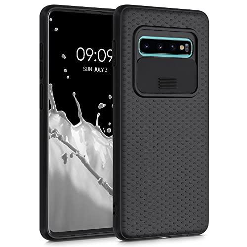 kwmobile Funda Compatible con Samsung Galaxy S10 Plus - Caracasa de Silicona TPU con Tapa para cámara - Negro