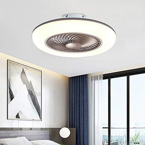 Deckenventilator Mit Beleuchtung Leise LED Fan Deckenleuchte Mit Fernbedienung Dimmbar 80W Kreative Modern Deckenlampe Ventilator Schlafzimmer Wohnzimmer Esszimmer Kinderzimmer Kann Timing,Braun