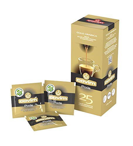 Covim Caffè Cialde Pods Gold Arabica, Compostabili Ese 44mm, 8 Astucci da 25 - Totale 200 Cialde