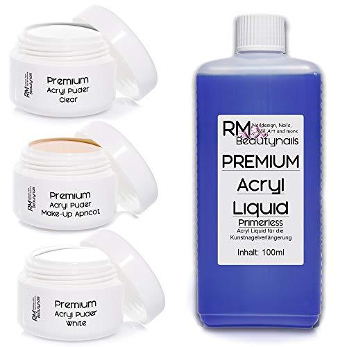 3x20g Acryl Puder Set 3-100ml Liquid Klar - Weiß - Make-Up Apricot Powder in Studio Qualität