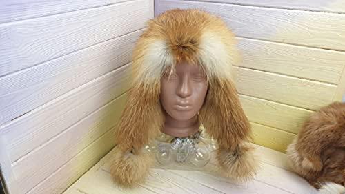 Women's Genuine Fox Fur Leather Hat for Winter, Ushanka, LITVIN