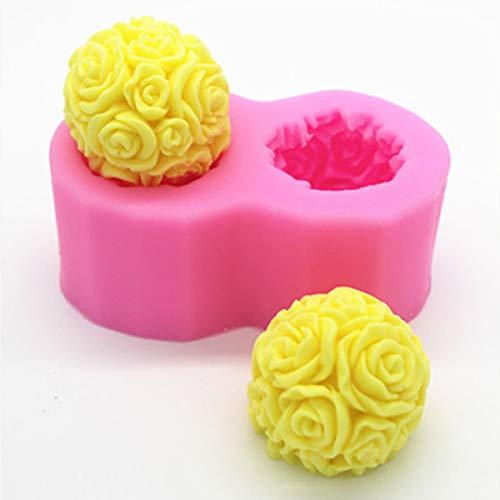 MJJEsports Flexibele 3D Rose Bloem Bal Mould Zachte Siliconen Zeep Kaars maken DIY Mold