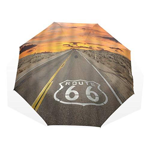 LASINSU Regenschirm,Highway Route 66 Pflaster bei Sonnenaufgang in Kaliforniens Mojave Wüste Dawn Dusk,Faltbar Kompakt Sonnenschirm UV Schutz Winddicht Regenschirm