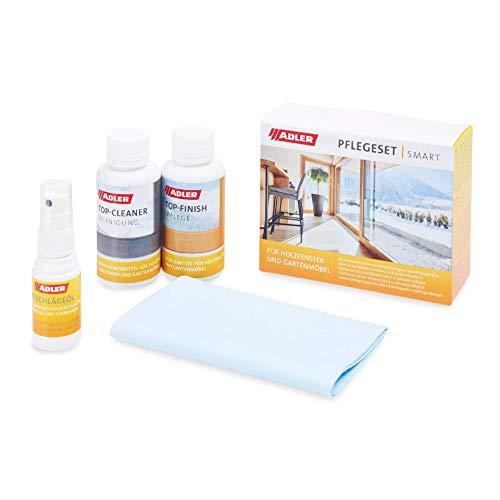 ADLER Pflegeset Smart - Reinigungsmittel, Pflegemittel & Beschlägeöl für lasierend beschichtete Holzfenster & Gartenmöbel - Top-Cleaner 100 ml, Top-Finish 100 ml, Beschlägeöl 20 ml + Reinigungstuch